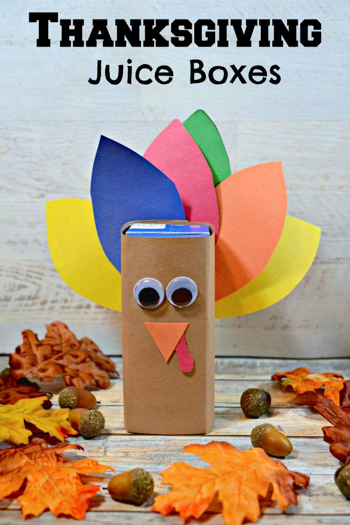 Thanksgiving Turkey Juice Box Idea for Kids