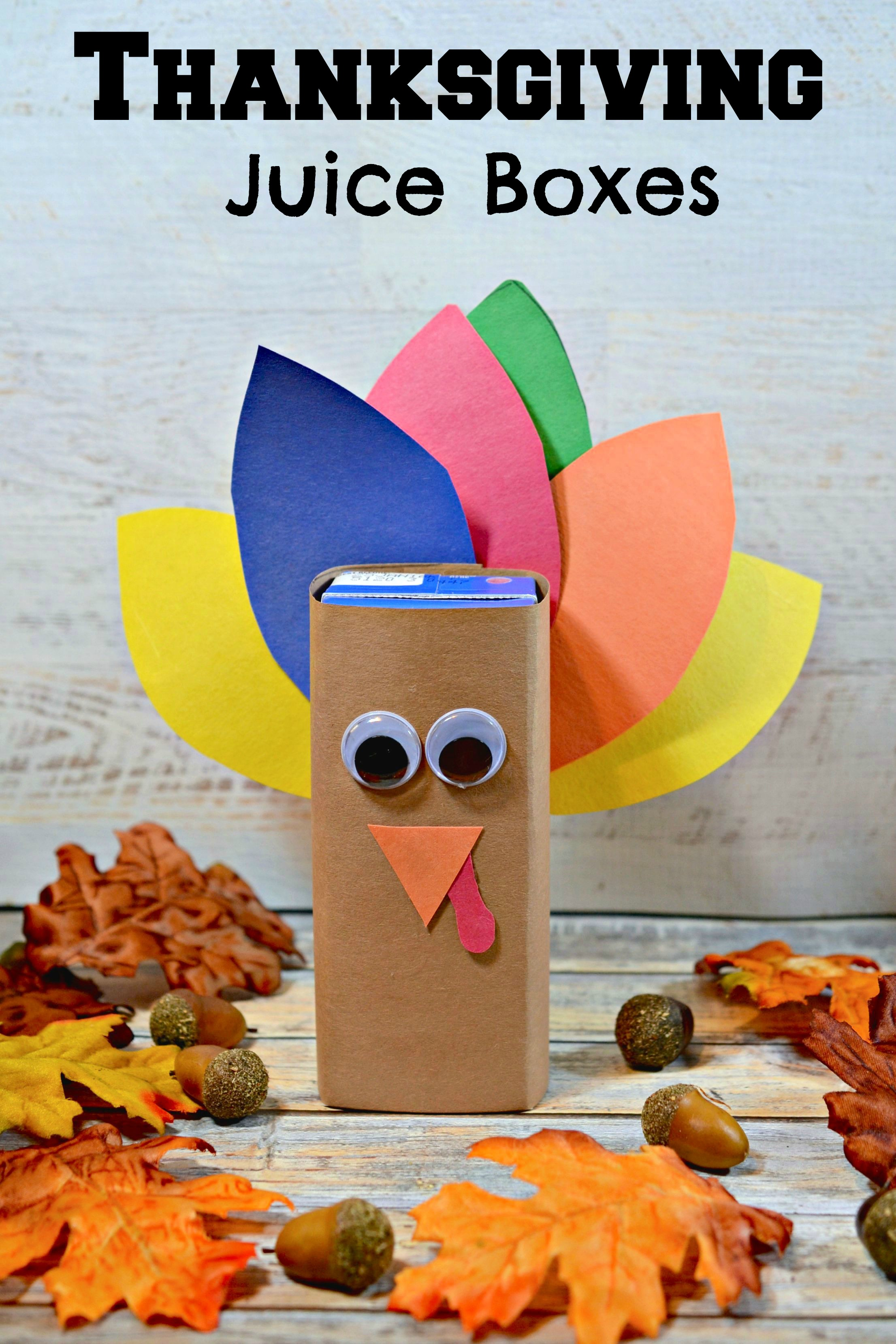 Thanksgiving Turkey Juice Box Kid's Snack Craft