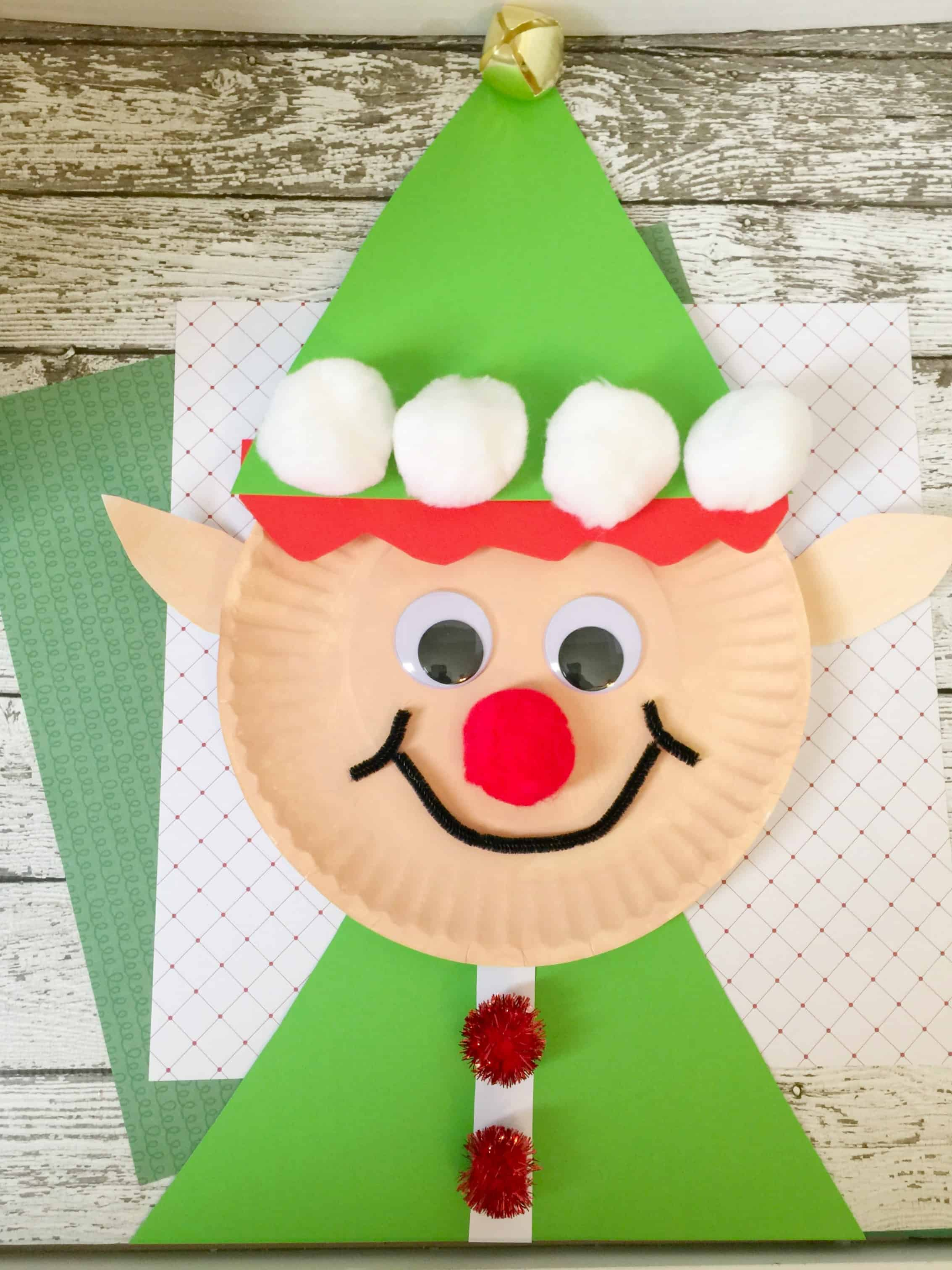 Christmas elf paper plate craft for kids for 2 year old christmas ornaments crafts