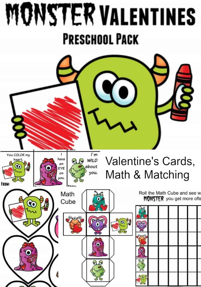 Monster Valentines Preschool Pack