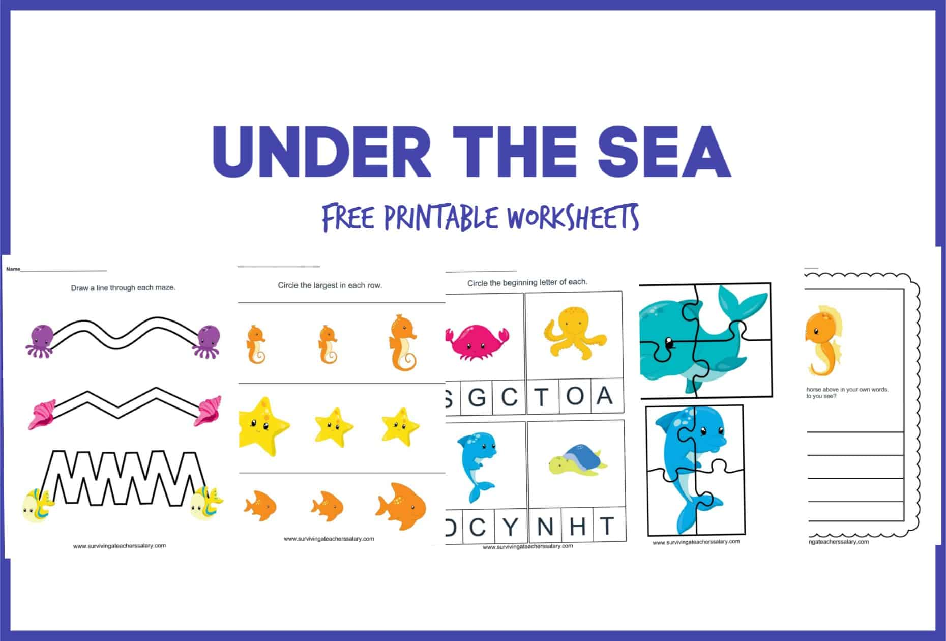 - FREE Under The Sea Worksheet Printable Preschool Set