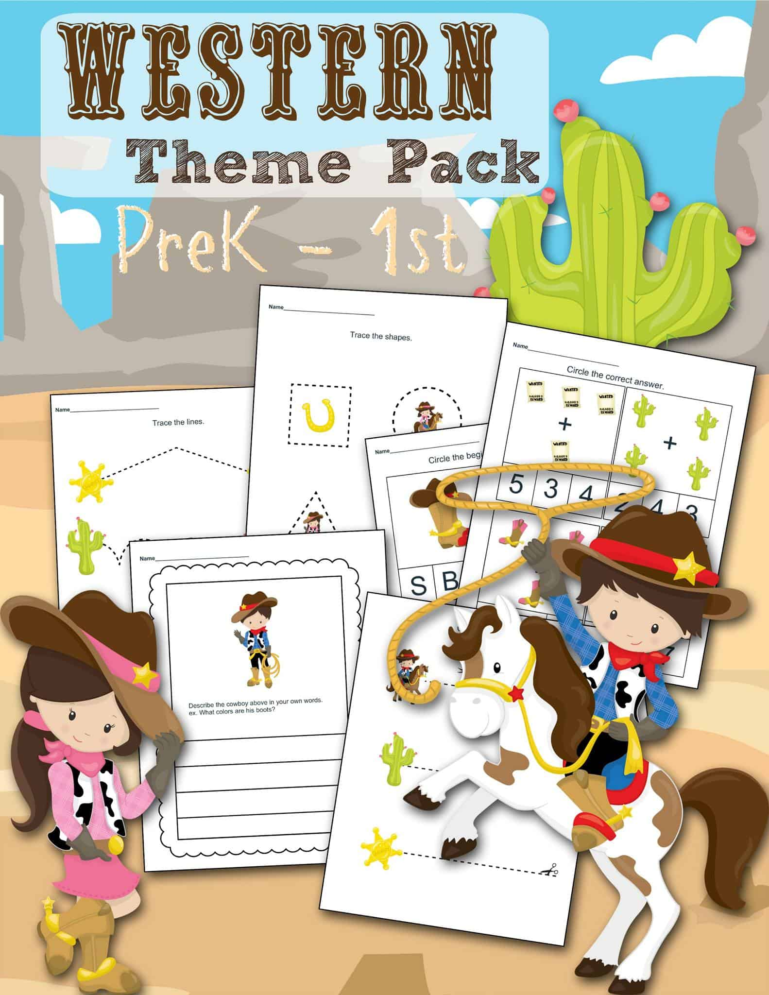 Free Western Themed Preschool Printable Worksheet Set
