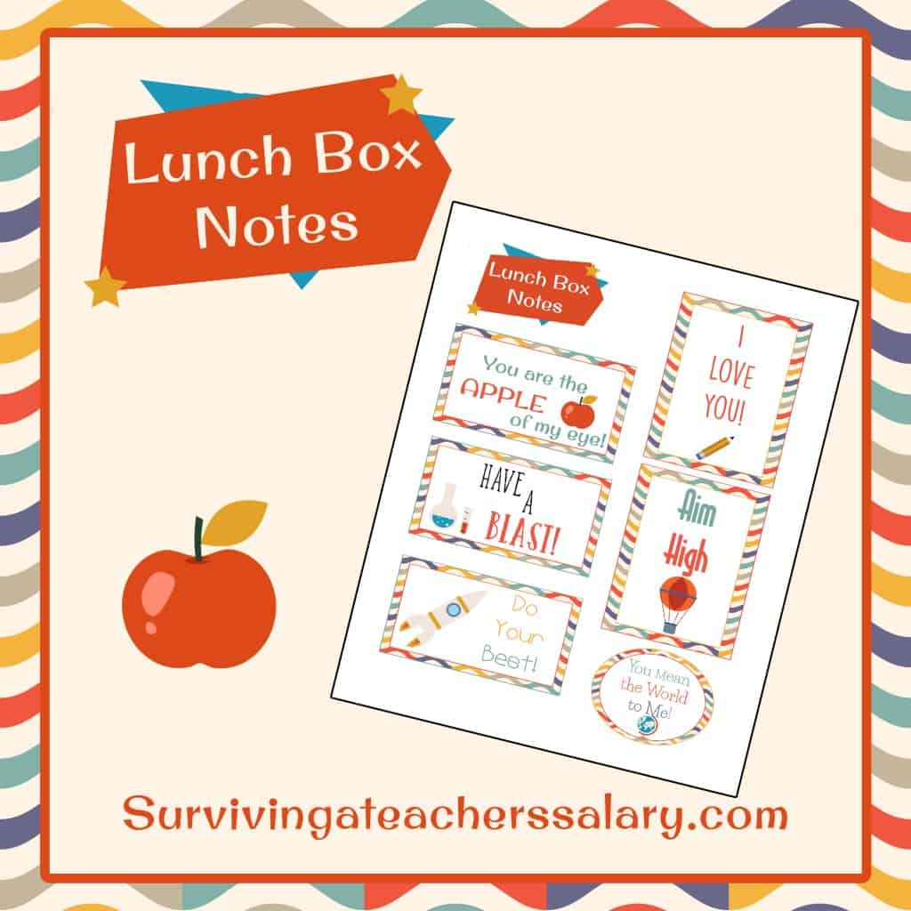 Back to School Printable Lunch Box Notes - apple, pencil, science, astronaut, rocket, school supplies and inspirational themed