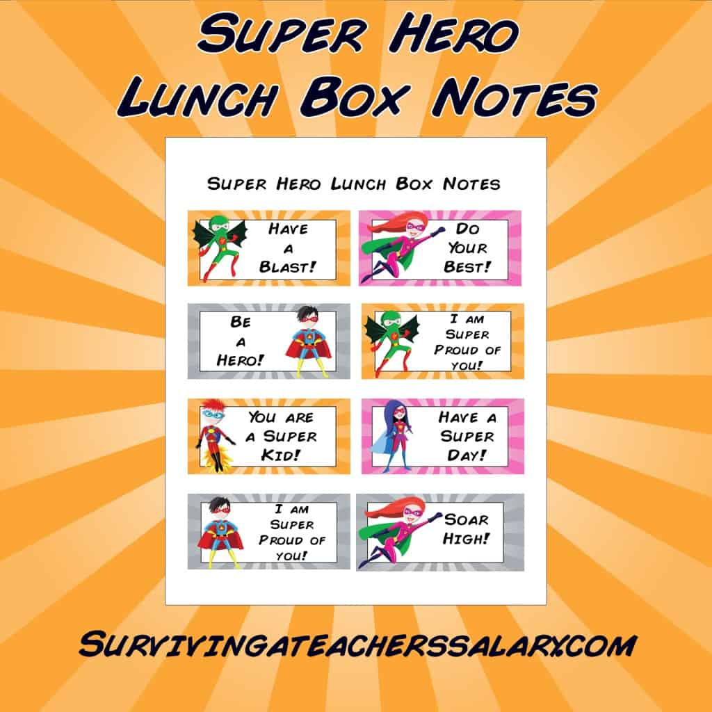 Super Hero Printable Lunch Box Note Cards