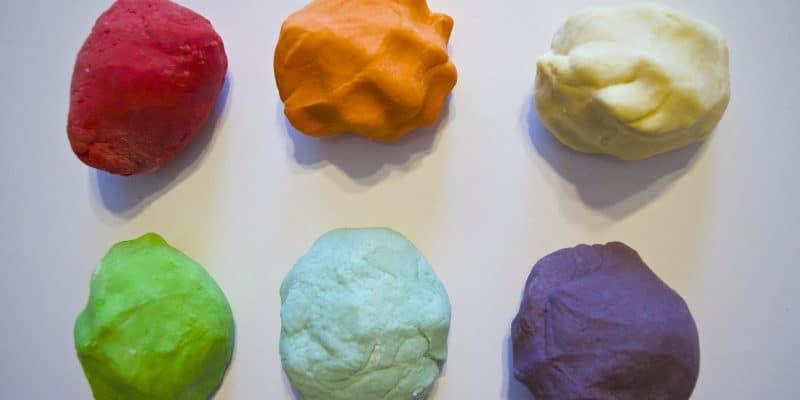 six balls of homemade play dough