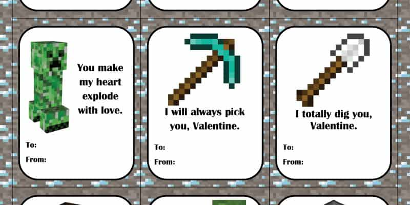 It's just a picture of Minecraft Printable Valentines regarding blank
