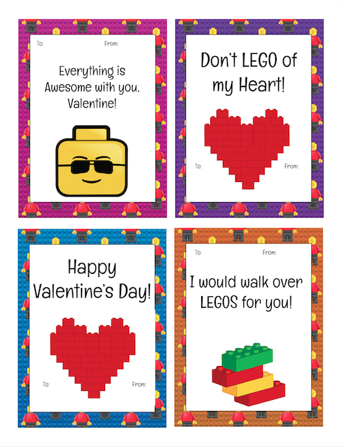 graphic relating to Printable Valentine Cards for Teachers known as Printable LEGO Valentines Working day Playing cards for tiny STEM Developers