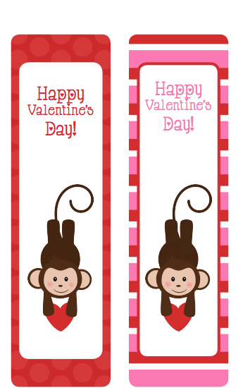 photograph about Printable Valentine Bookmarks identify Printable Valentines Working day Bookmarks - Monkeys