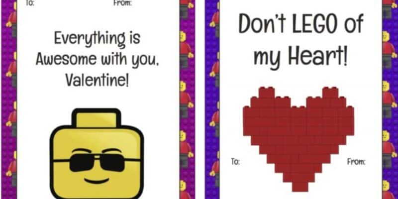 LEGO printable valentines day cards