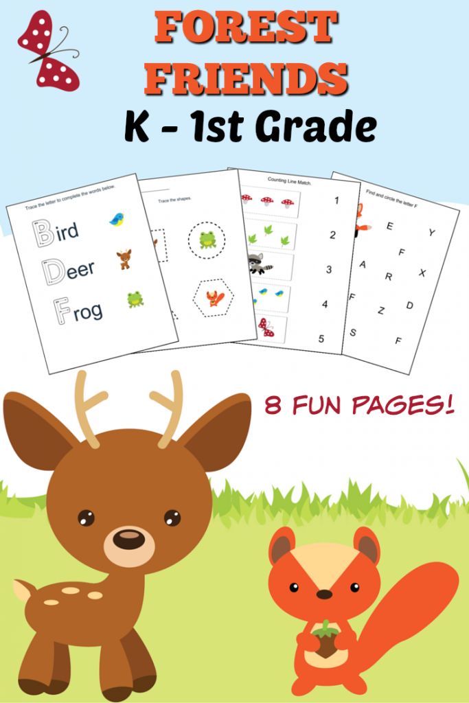 Woodland Forest Friends Printable Preschool Worksheets