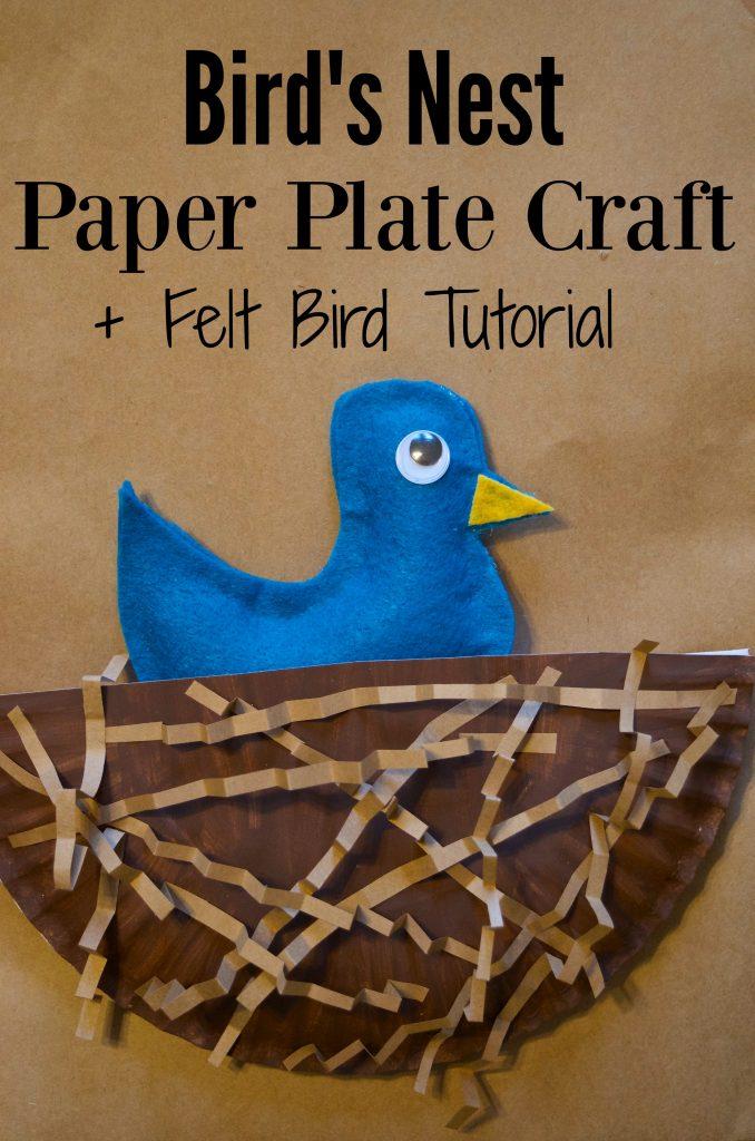 birds nest paper plate craft