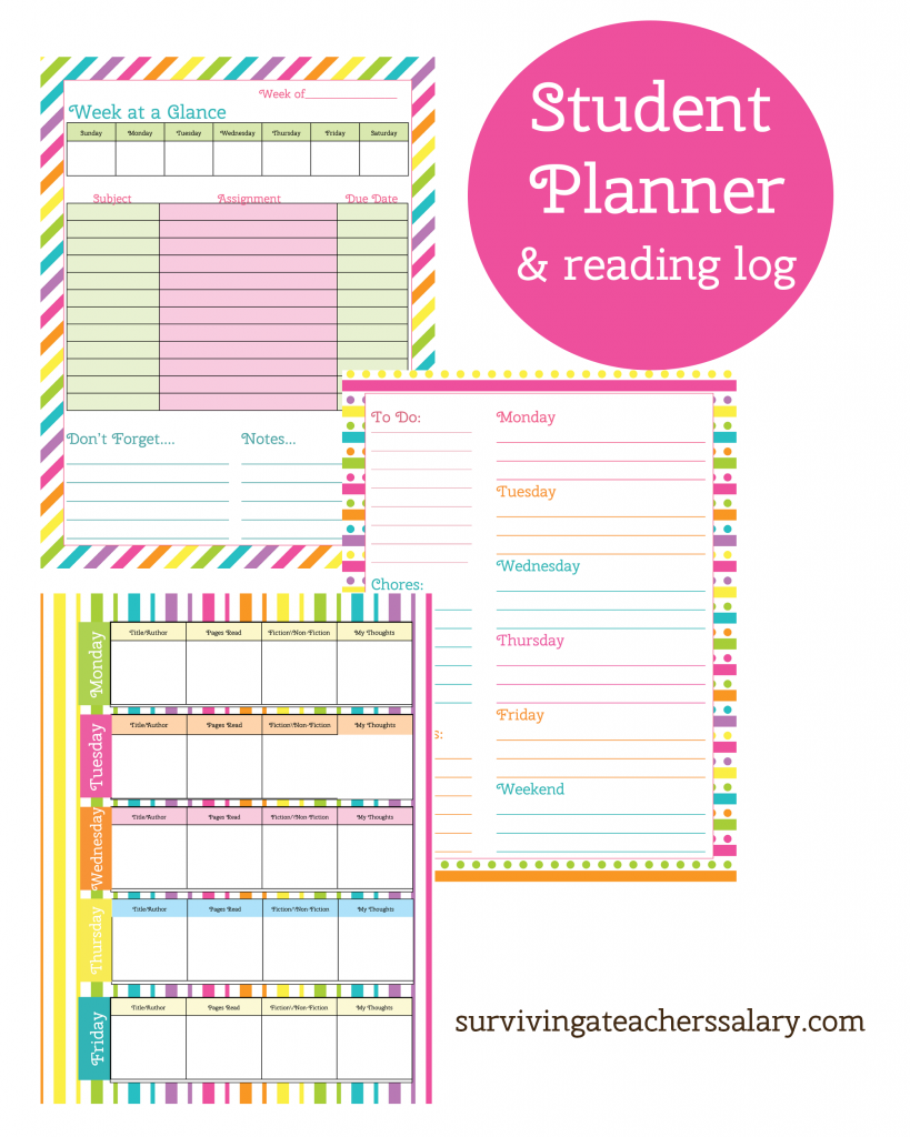 picture relating to Free Printable Planners referred to as Printable College student Planner and Looking at Log