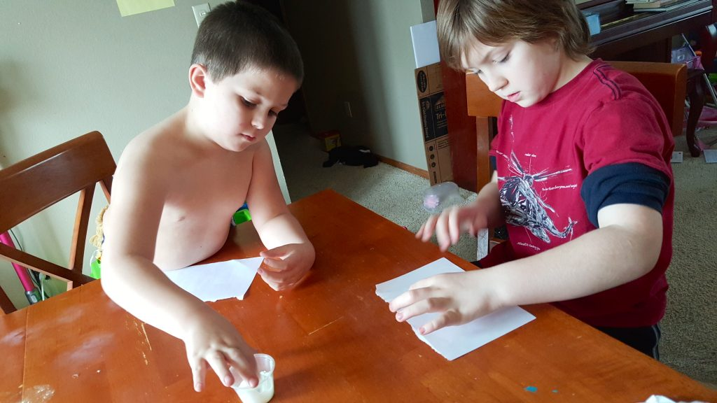 boys doing science experiments