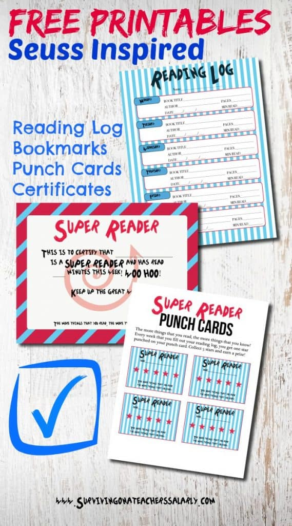 photo about Free Printable Reading Certificates named Dr. Seuss Printable Looking at Log, Bookmarks, and Award