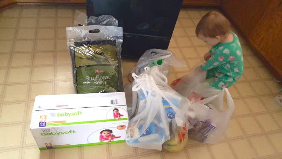 baby girl with grocery shopping delivery