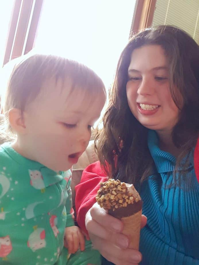 eating ice cream with a baby girl