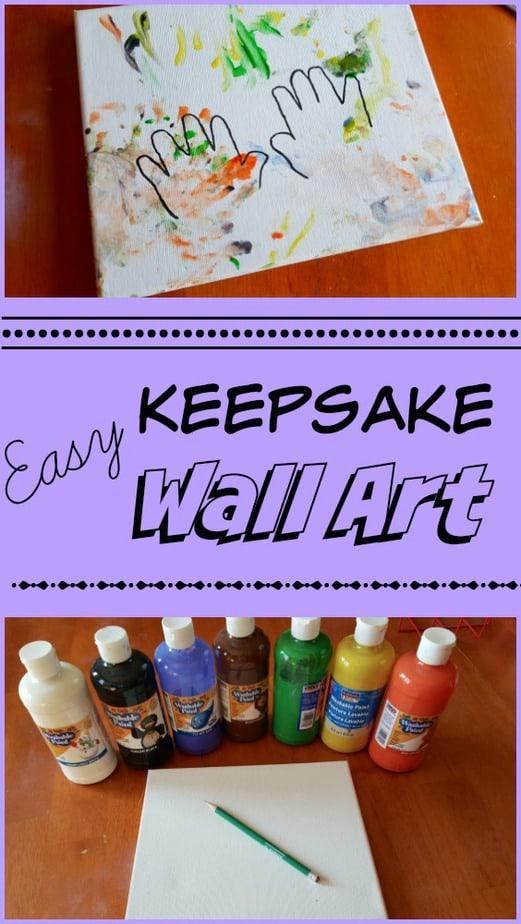 DIY Child\'s Handprint Keepsake Canvas Wall Art