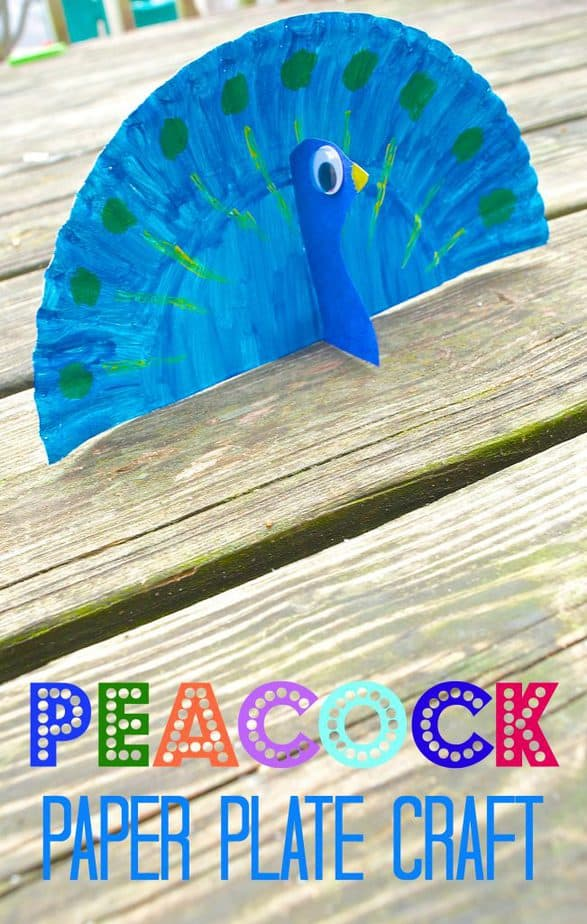 Peacock Animal paper plate craft for kids