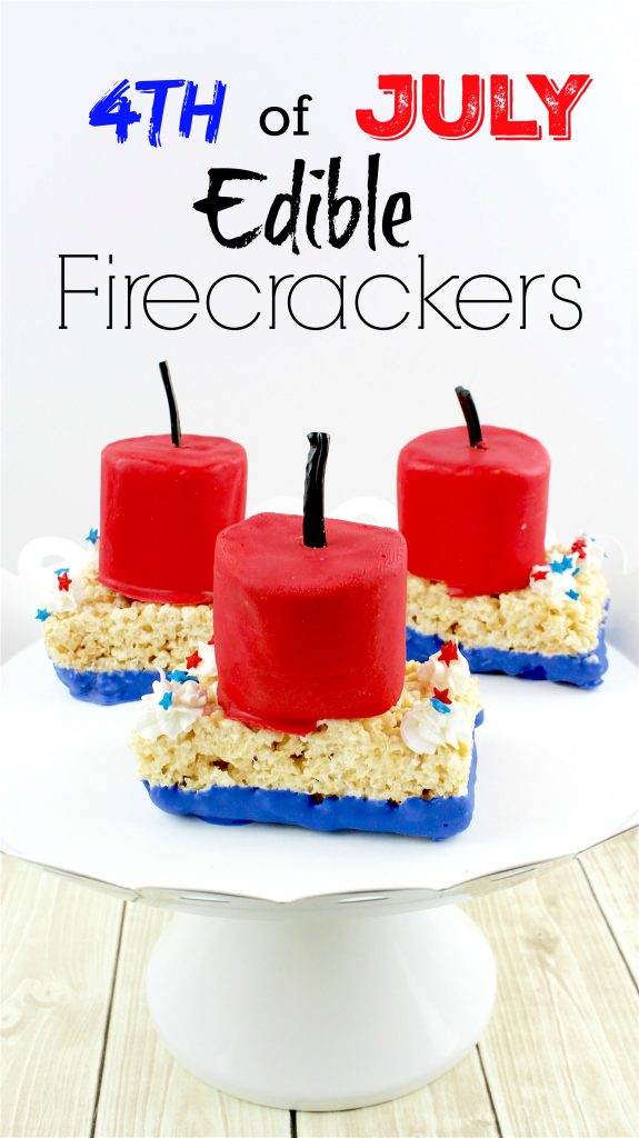 4th of July Edible Firecracker Rice Krispies Recipe