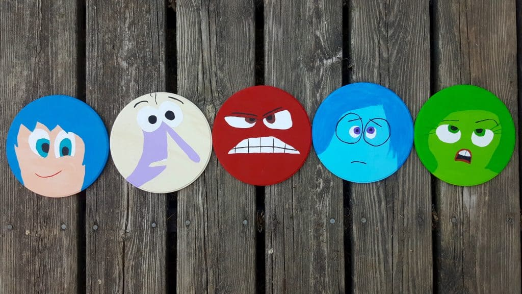 hand painted disney pixar character wood circles
