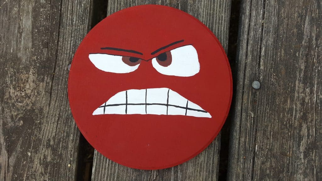 inside out anger character wooden circle