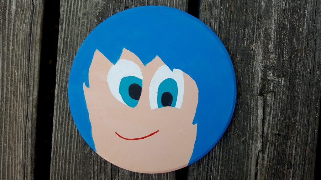 inside out joy emotions character hand painted wood