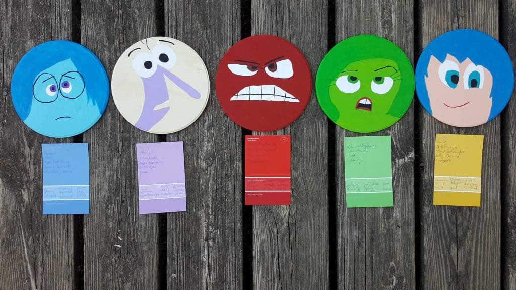 inside out characters disney pixar wooden circles