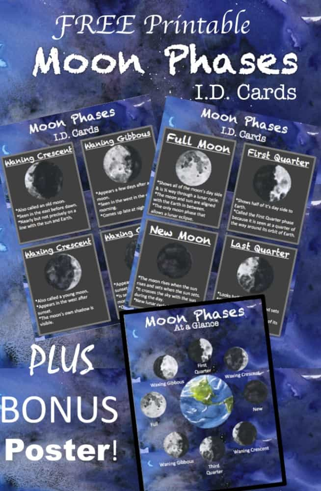 collage of printable moon phases flash cards