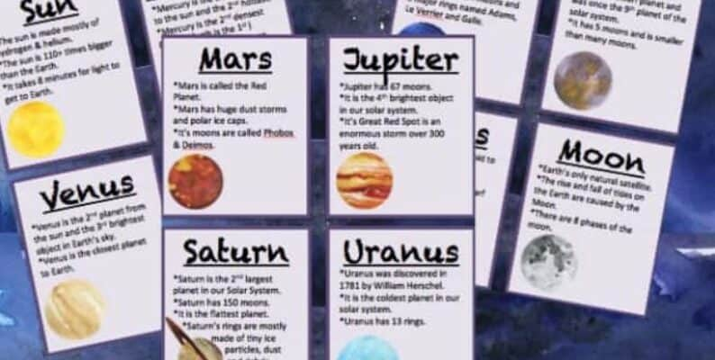 printable space flashcards