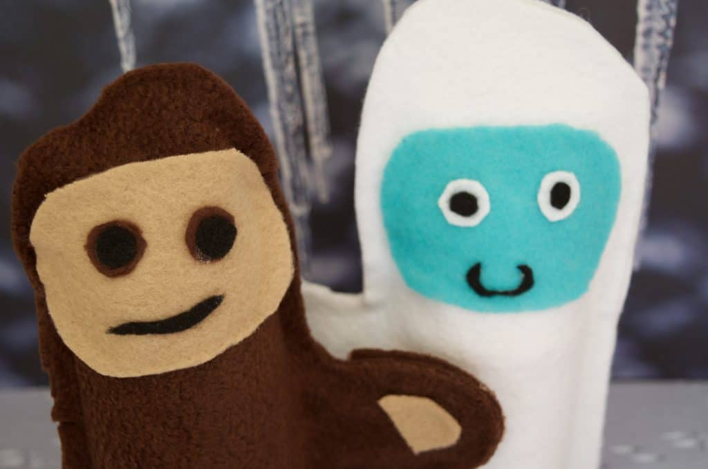 Cryptozoology for Kids NO SEW Bigfoot Sasquatch & Yeti Abominable Snowman Hand Puppets Tutorial