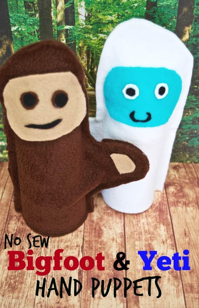 No Sew Bigfoot & Yeti Hand Puppets