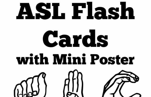 Free Printable ASL Flash Cards with Poster