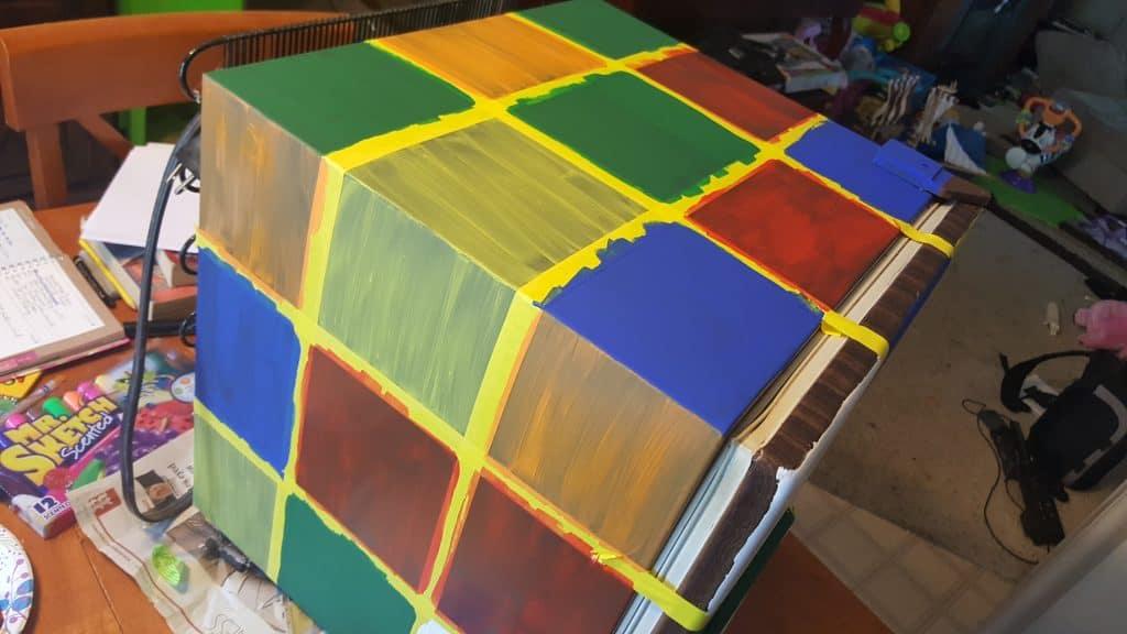 painted Rubik's Cube Fridge process