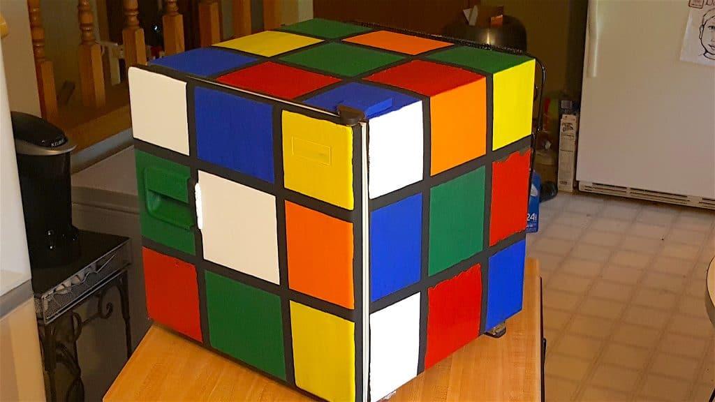 finished diy Rubik's Cube Fridge