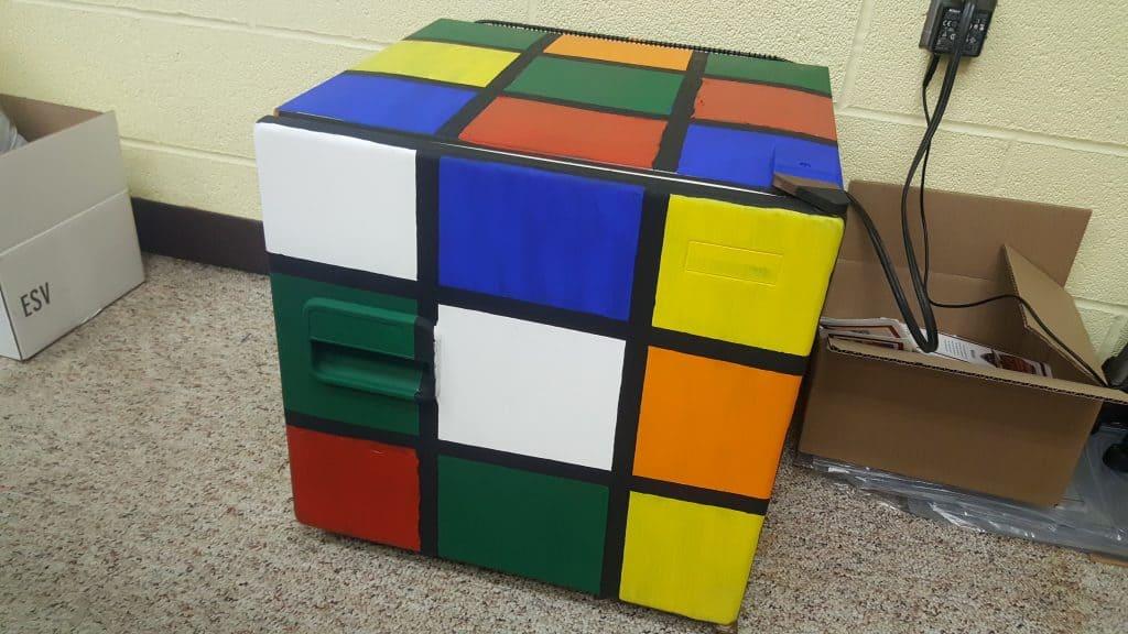 finished Rubik's Cube Fridge