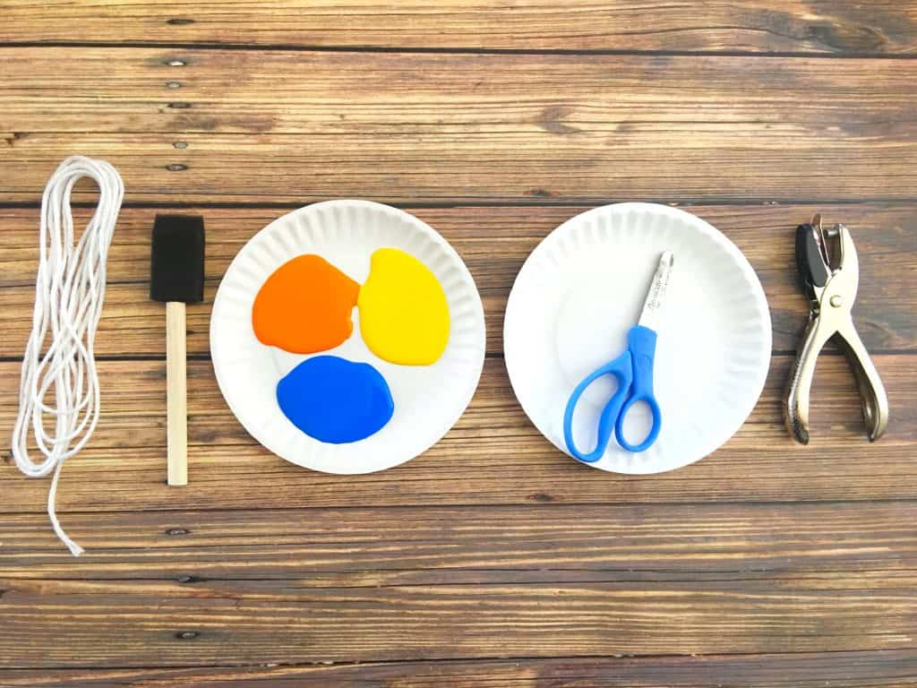 paint and paper plates for Pete the Cat craft