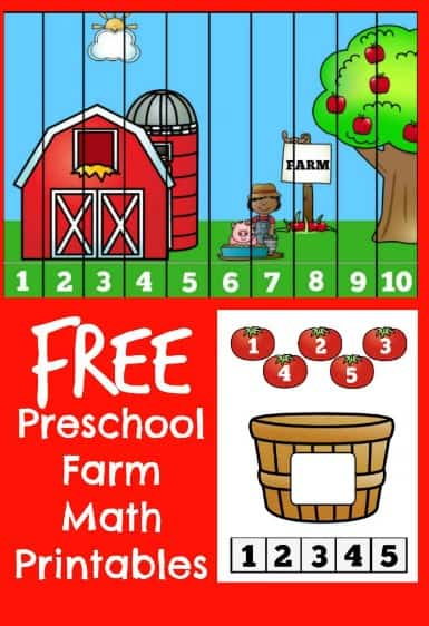 Preschool Farm Math Printable Worksheet