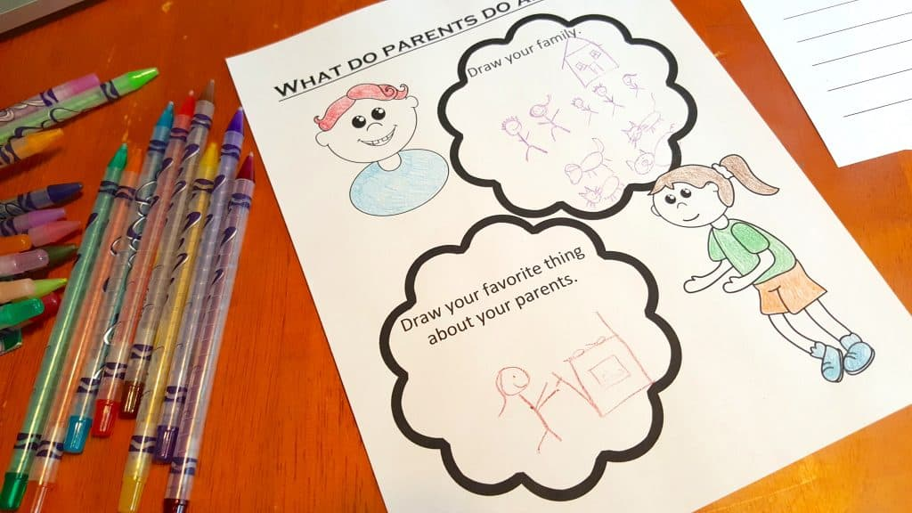 What do Parents do ALL Day Printable Writing Worksheet