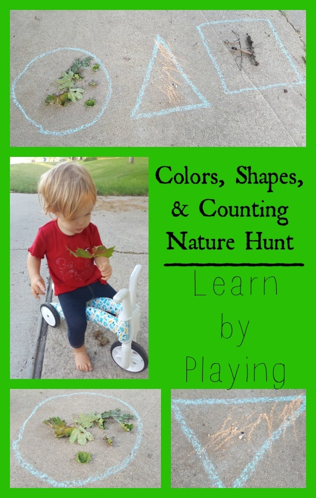 Colors Shapes and Counting Nature Scavenger Hunt for Toddlers