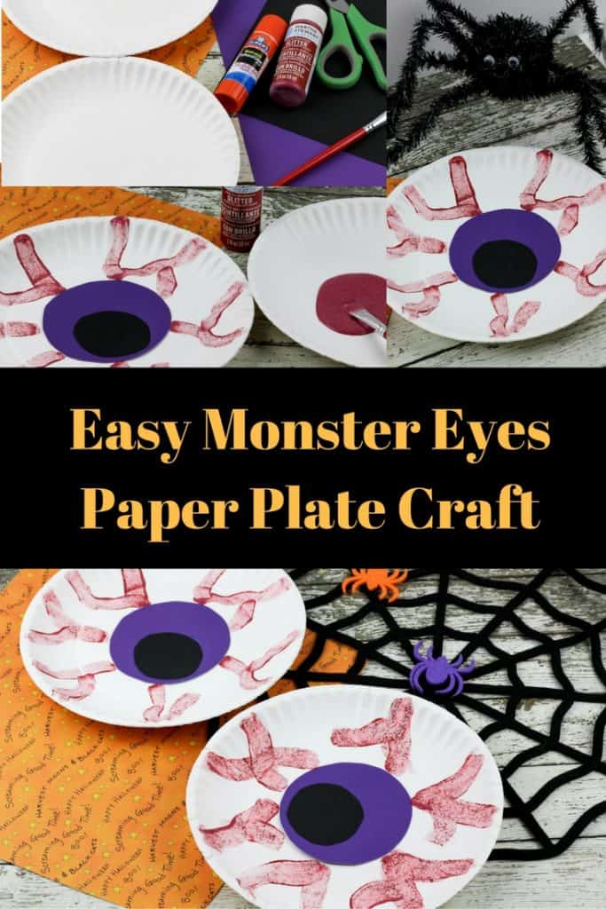 Easy Monster Eyes Paper Plate Craft