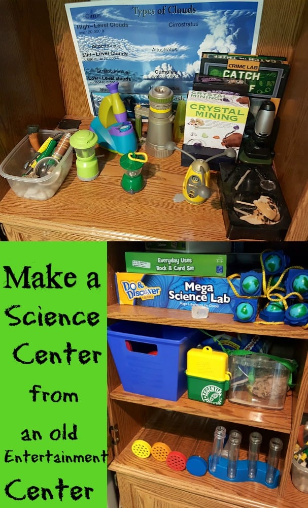 Make a Science Center from an old entertainment Center