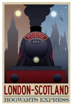 Vintage Harry Potter London Scotland Poster Wall Art