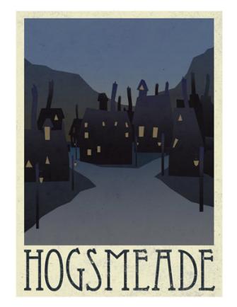 Vintage Hogsmeade Harry Potter poster