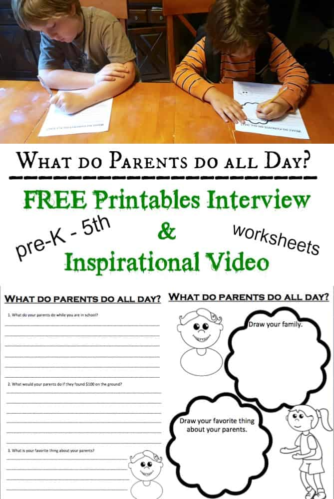 Free Printable Interview Worksheets: What do Parents do all day?