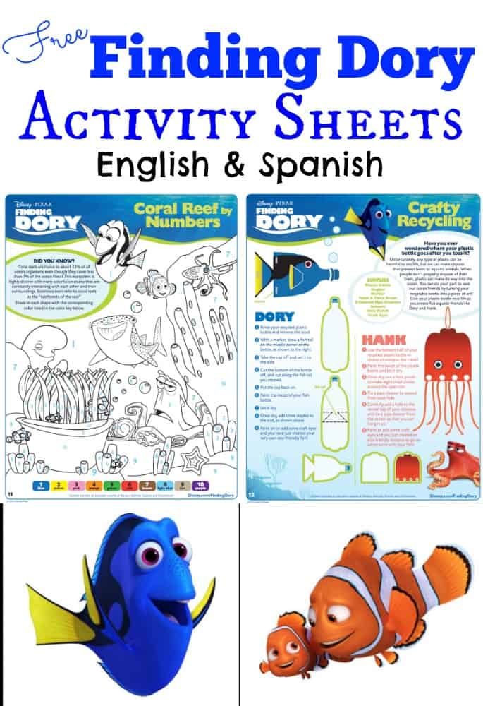 Finding Dory Activity Sheets English Spanish