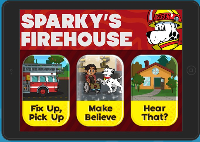 Sparky's Firehouse fire safety app for kids