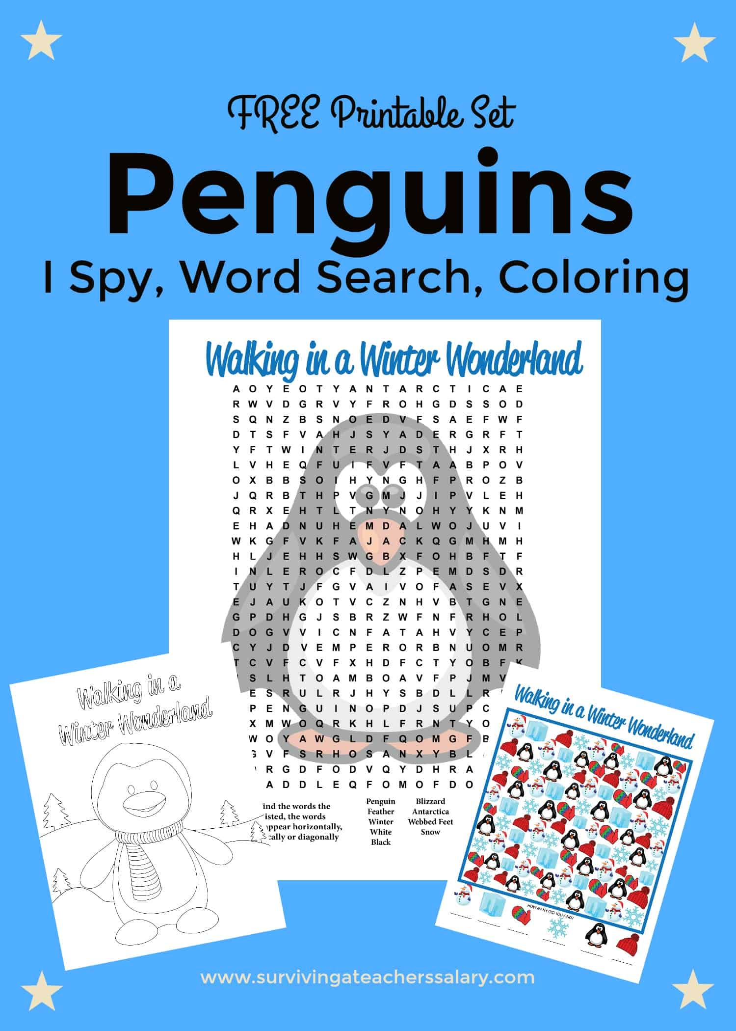 photograph regarding I Spy Printable Worksheets identify Totally free Printable Penguins Worksheets: Coloring Sheet, Phrase