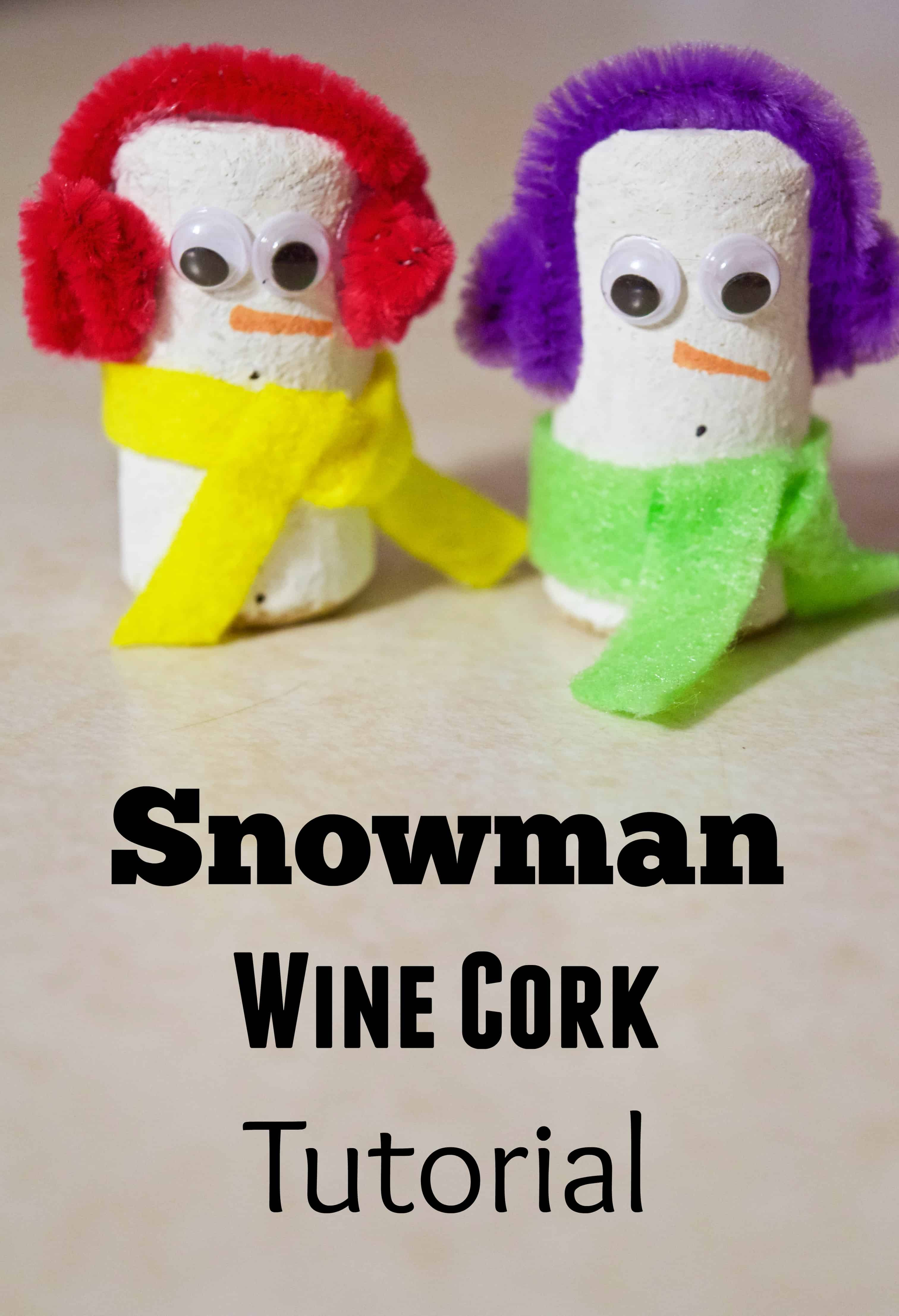 Snowman Wine Cork Winter Craft Tutorial