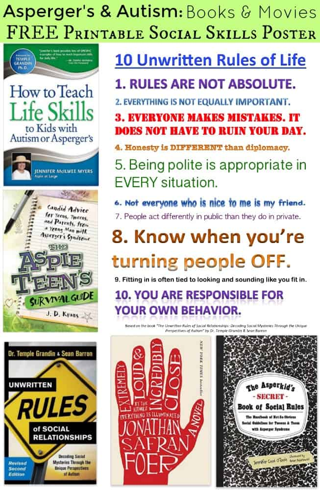 Aspergers and Autism Books and Movies FREE Printable Social Skills Poster