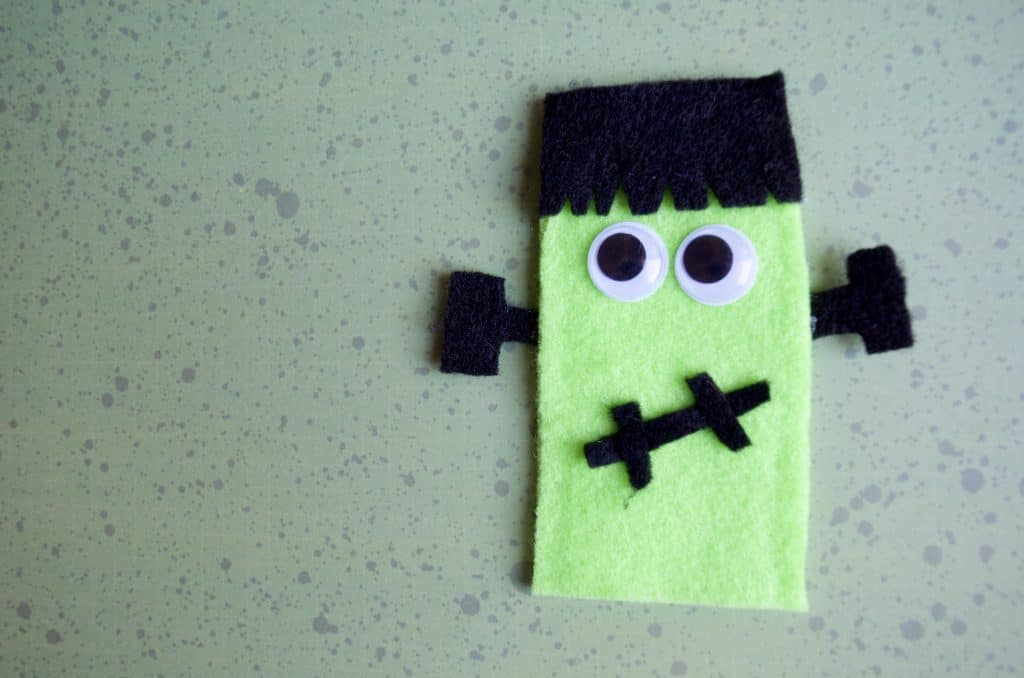 Frankenstein No Sew Felt Finger Puppets Tutorial